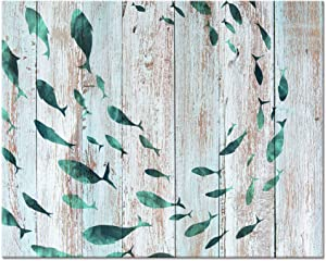Visual Art Decor Abstract Shoal of Fish Sealife Canvas Wall Art Prints Gallery Wrapped Ready to Hang for Coastal Bedroom Home Office Wall Decoration