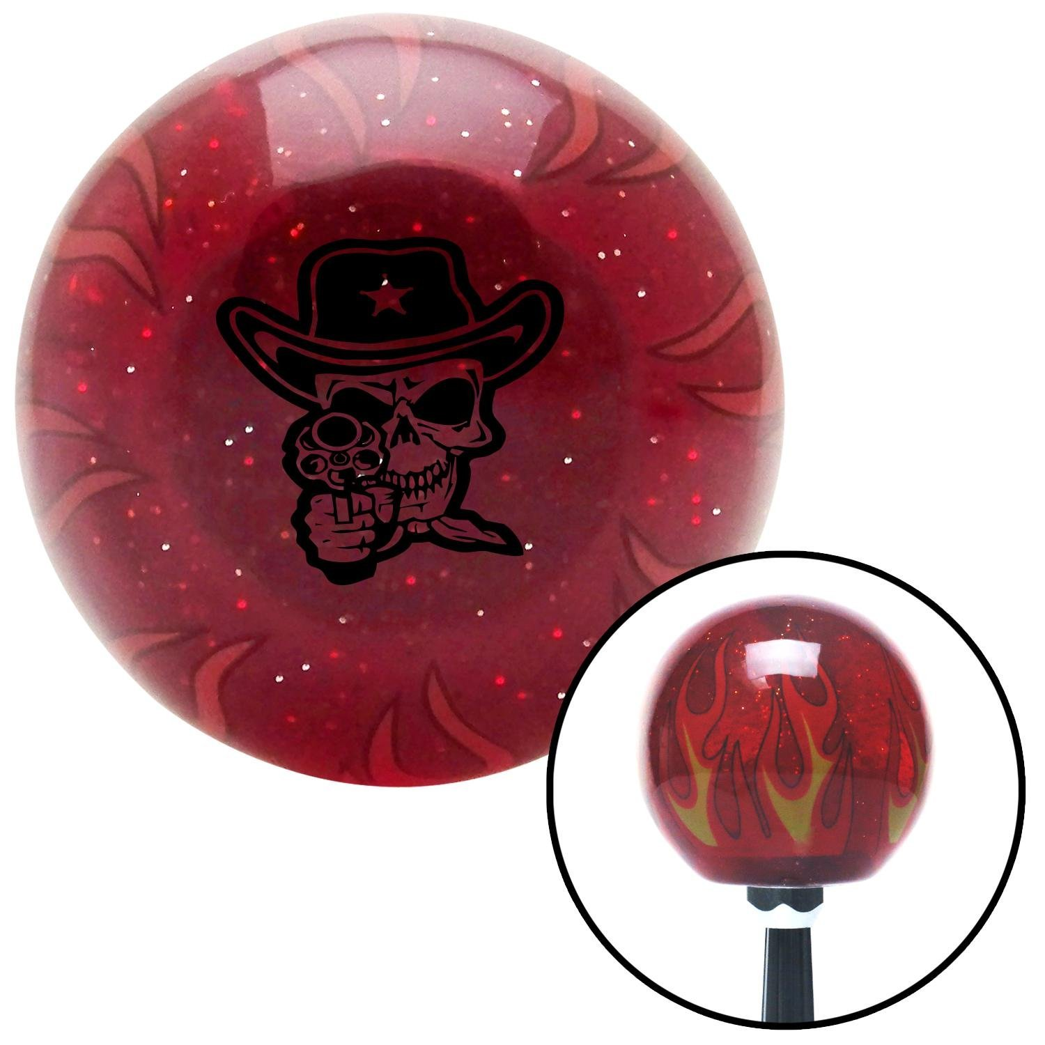 Black Cowboy Skull American Shifter 243524 Red Flame Metal Flake Shift Knob with M16 x 1.5 Insert