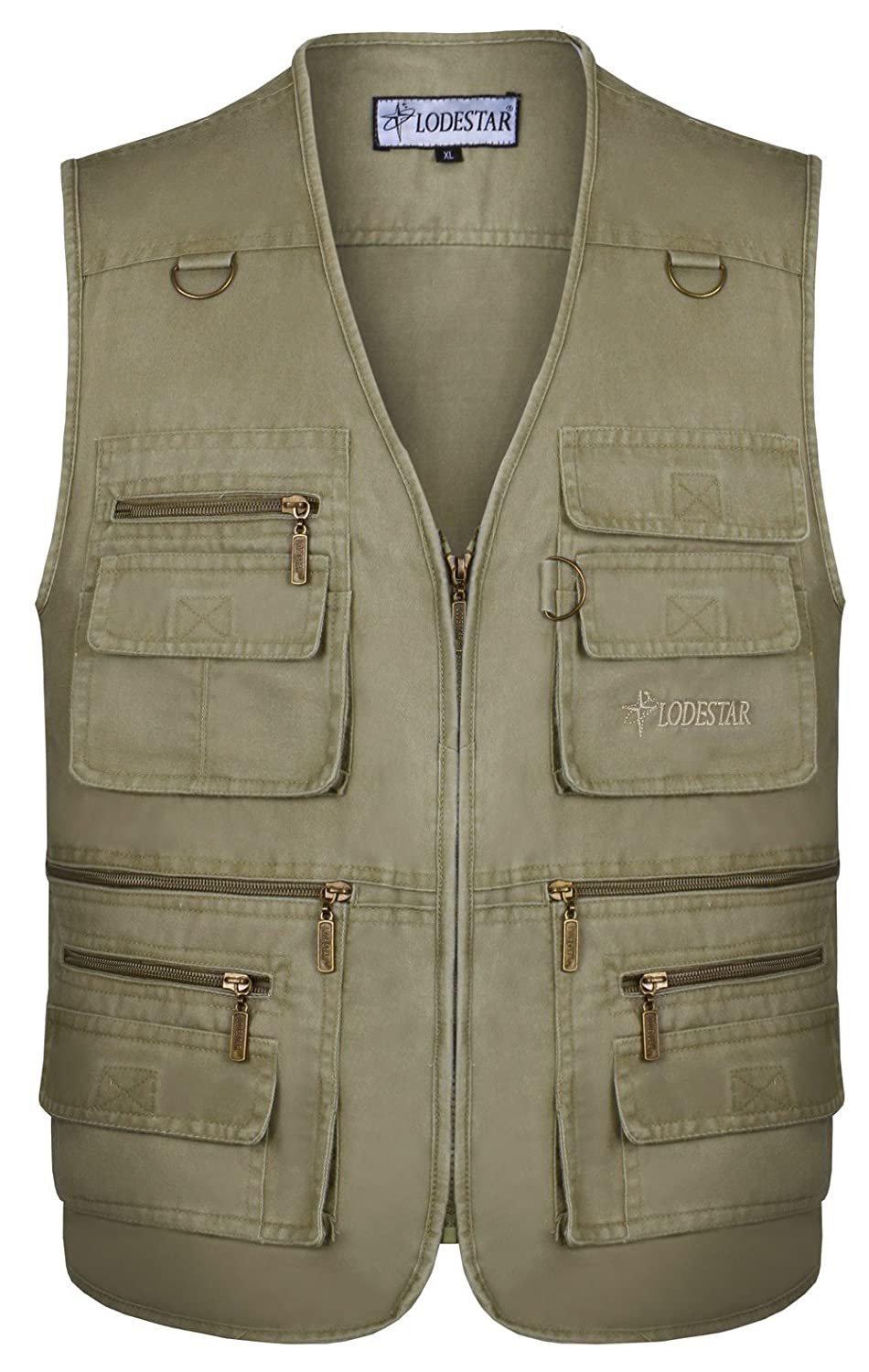 JIINN Mens Outdoor Breathable Cotton Vest Multi-Pocketed Waistcoat Safari Sightseeing Camping Traveling Photography or Any Adventure Jacket Fishing Gilet