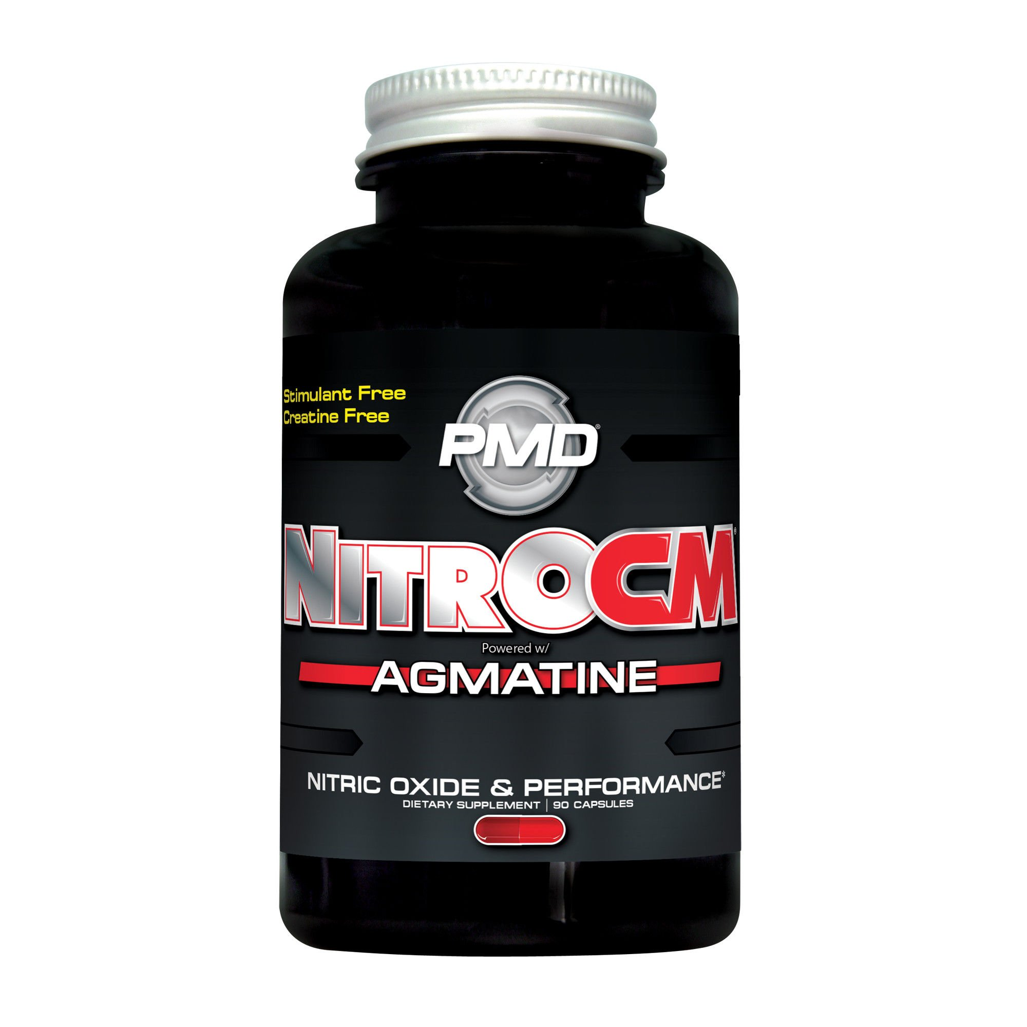 PMD Sports Nitro cm - Nitric Oxide with Agmatine Pre Workout Supplement - Muscle Growth Pre Workout with L Arginine - Endurance Boost for Hardcore Exercise, Training, and Bodybuilding - 90 Capsules