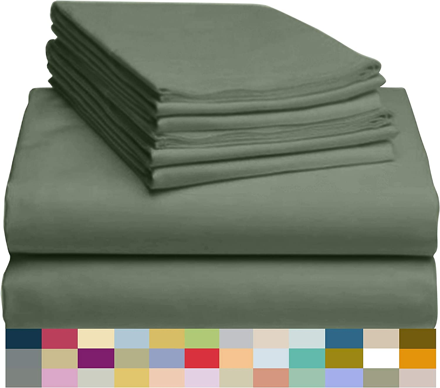 """LuxClub 6 PC Sheet Set Bamboo Sheets Deep Pockets 18"""" Eco Friendly Wrinkle Free Sheets Hypoallergenic Anti-Bacteria Machine Washable Hotel Bedding Silky Soft - Tree Moss Green Queen"""