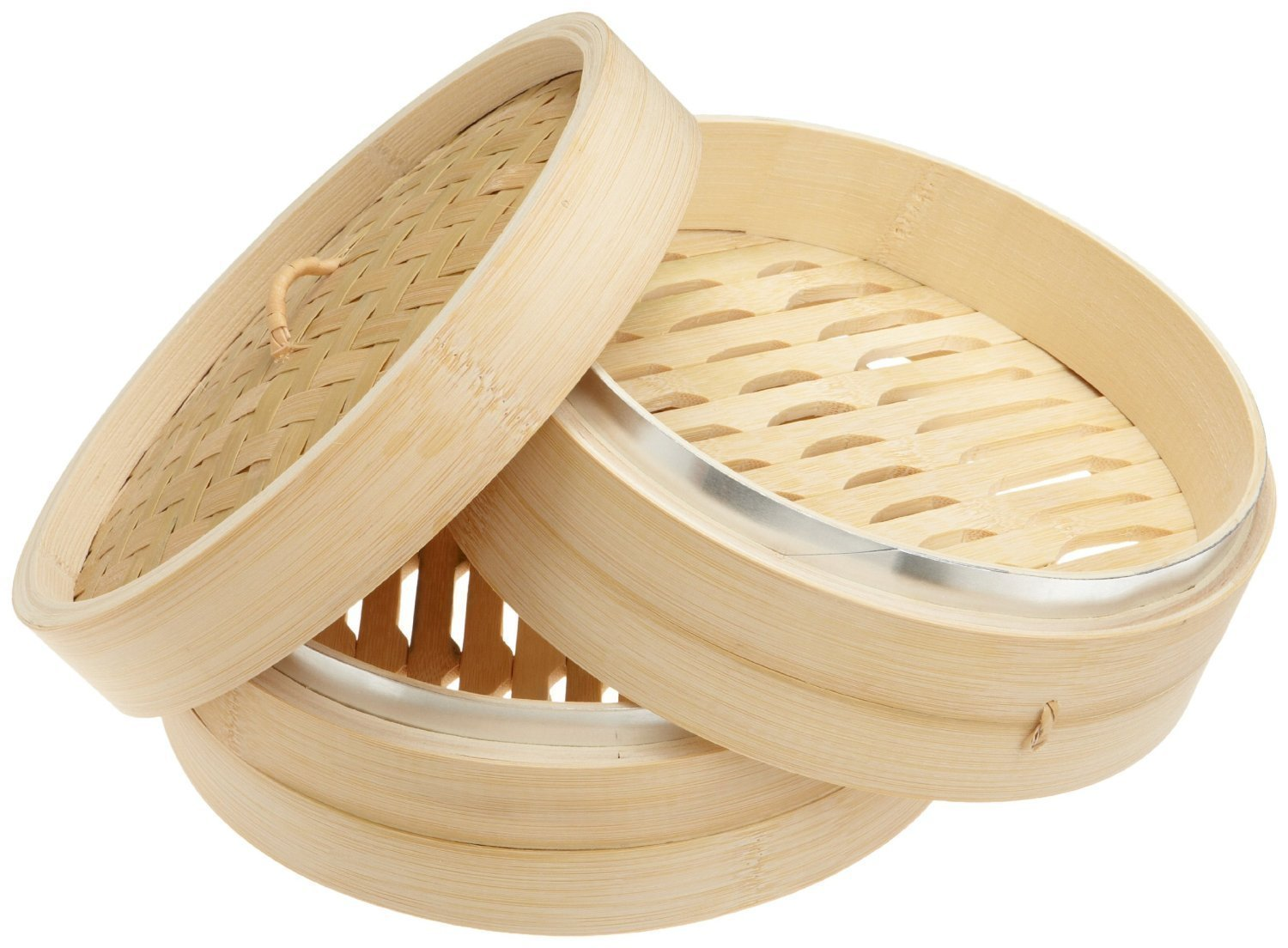 Dimsum High Tea 10'' Diameter Bamboo Steamer - Stackable Two Baskets With One Lid