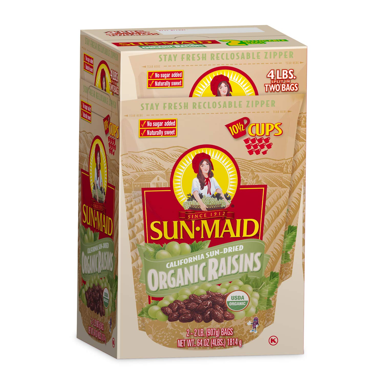 B004FH0BEY Sun-Maid Organic Raisins - Dried Fruit Snacks Healthy snacks for kids - 64oz (Split Into 2 Resealable Bag of 2 LBS Each, Total of 4 LBS) 71vaqcOzQPL