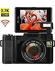 Digitalkamera mit WiFi Videokamera 24,0 MP Blogging Kamera 2,7K Ultra HD 3,0 Zoll Camcorder HD mit Flip Screen einziehbare Taschenlampe