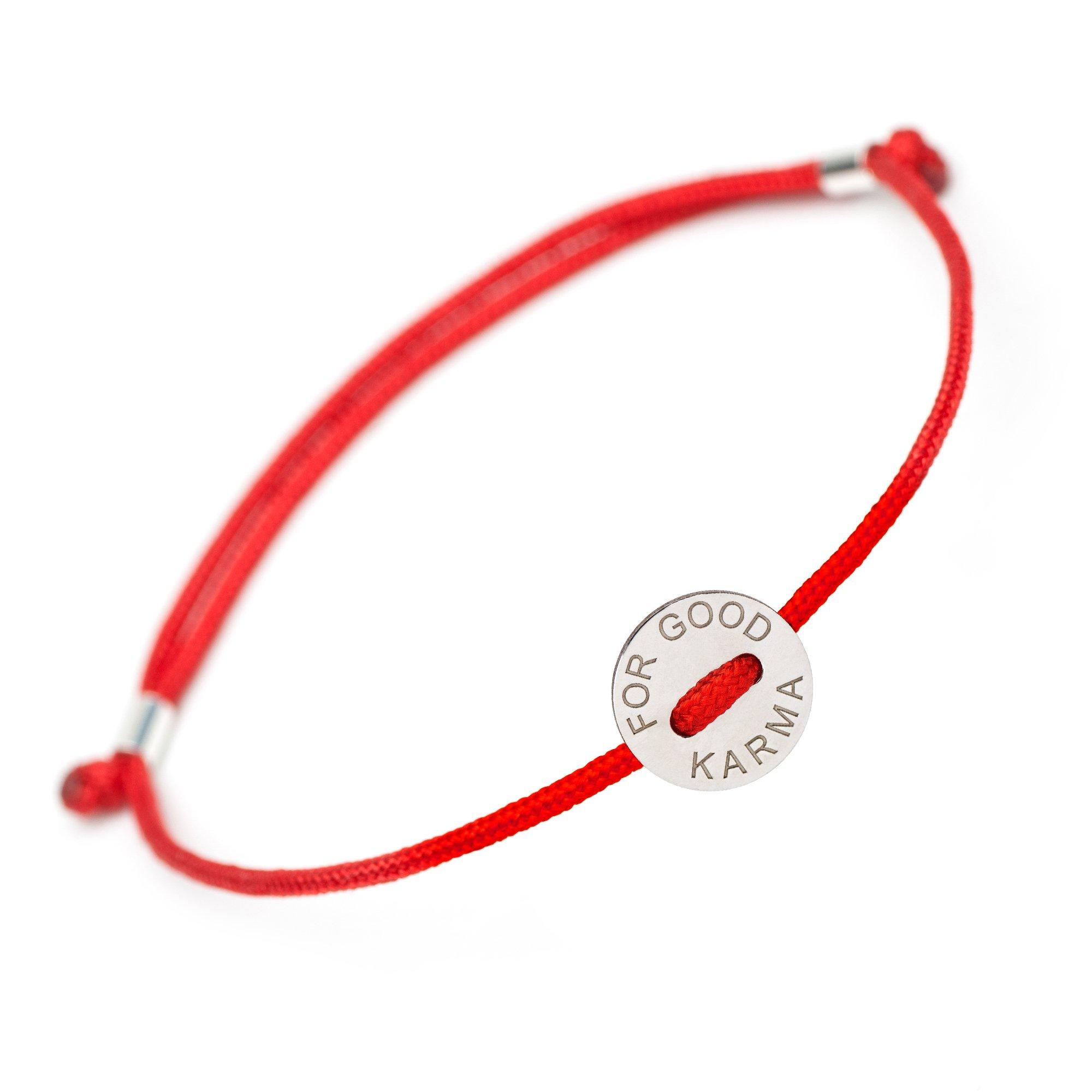 Friendship Inspirational Motivational Lucky Bracelet - For Good Karma Engraved Coin Charm - Perfect Fashion Protection Red Bracelet - Adjustable Bangle Bracelets Gifts Men Women Friend Girls Boys