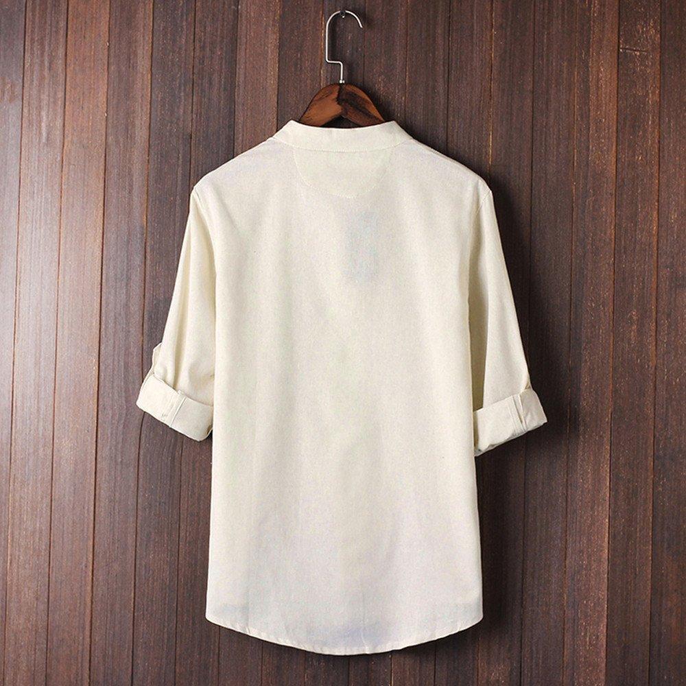 Camisas Hombre cl/ásico Kung Fu Tops Blusa de Lino de Manga 3//4 Camiseta de Hippie tailandesa Cuello en V de Playa Yoga Blusa de Arriba Modaworld