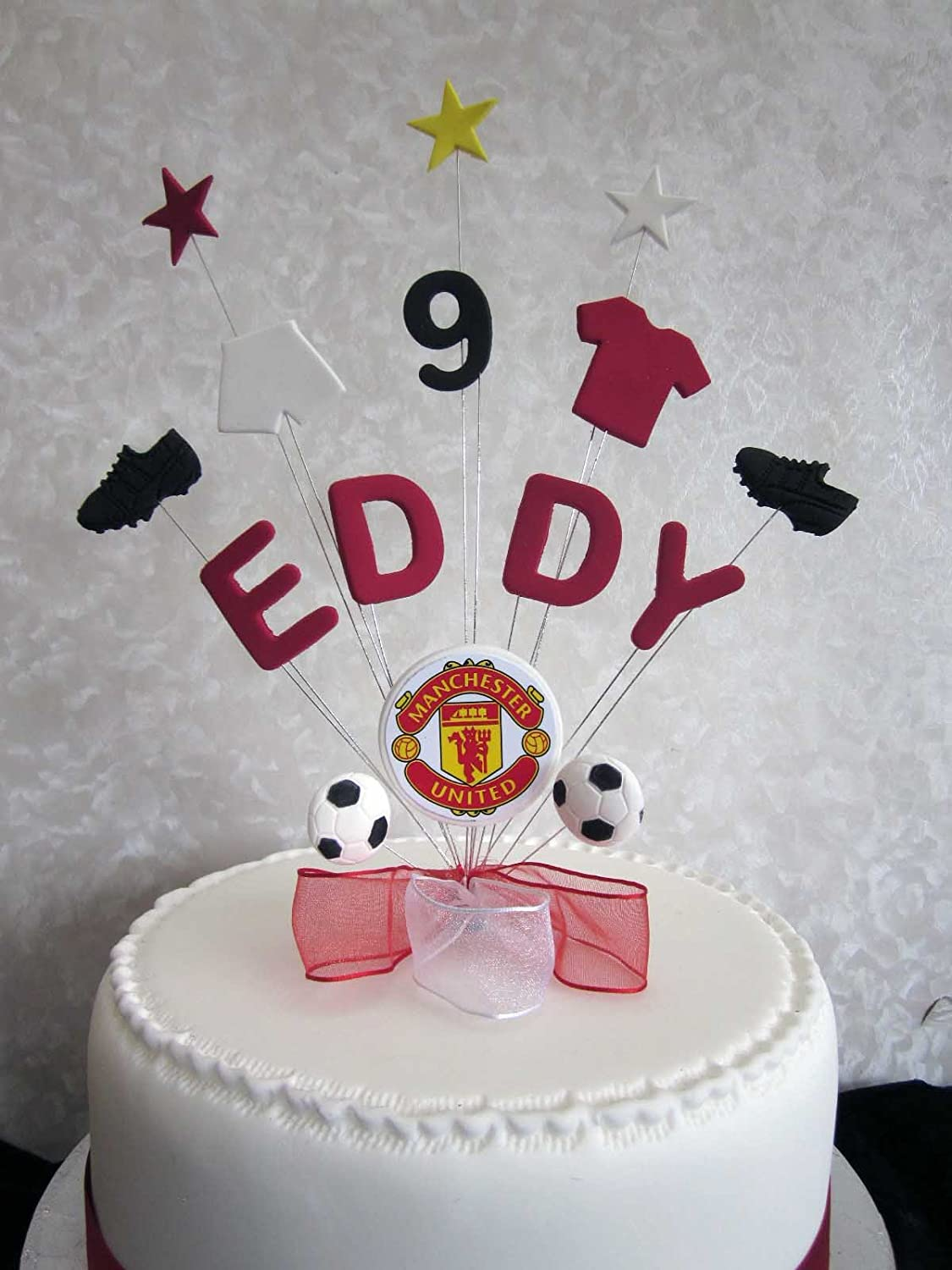 Amazing Personalised Manchester United Football Birthday Cake Topper Any Birthday Cards Printable Nowaargucafe Filternl