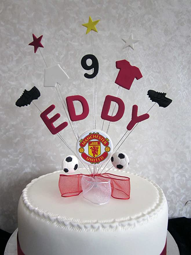 personalised manchester united football birthday cake topper any name or age amazon co uk kitchen home personalised manchester united football birthday cake topper any name or age