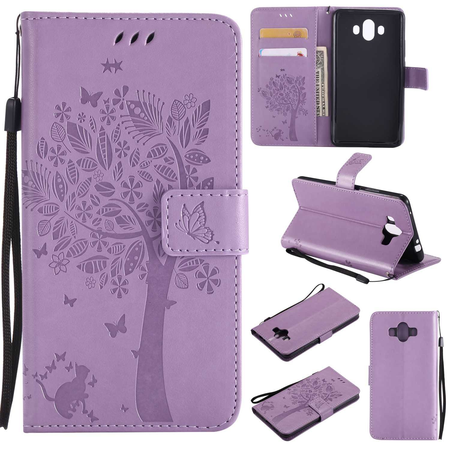 Huawei Mate 10 Wallet Case, UNEXTATI Leather Flip Cover Case with Kickstand Feature for Huawei Mate 10 (Light Purple #12)