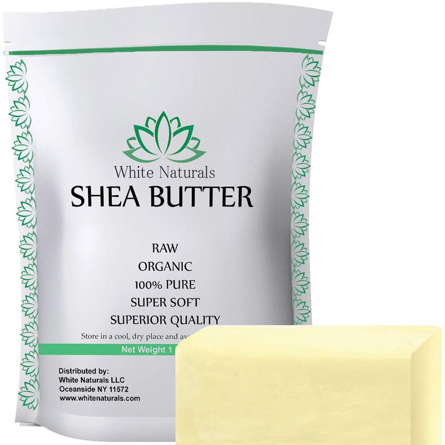 Limited Time Sale! Unrefined African Shea Butter 1 lb Pure, Raw,Grade A,Ivory, Perfect Skin Moisturizer, DIY Lip Balms, Stretch Marks, Eczema,Acne,Recover Sun Damage,Kids Cream 16 oz by White Naturals