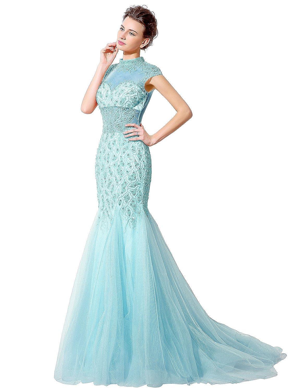 Favebridal Women's Sleevelesss Beading Mermaid Evening Dress LX059