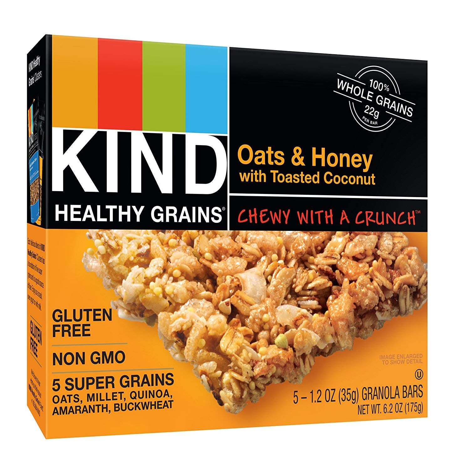 KIND Healthy Grains Bars, Oats & Honey with Toasted Coconut, Non GMO, Gluten Free, 1.2oz, 5 Count (6 Boxes)