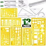 Keadic 12 Pieces Plastic Drawing Template Ruler Kit with Aluminum Architect Scale, Measuring Templates Building Geometric Drawing Rulers for Drafting Illustrations Architecture & School Work