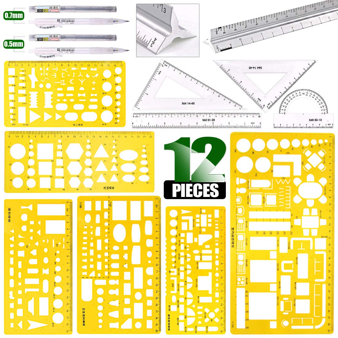 Keadic 12 Pieces Plastic Drawing Template Ruler Kit with Aluminum Architect Scale, Measuring Templates Building Geometric Drawing Rulers for Drafting Illustrations Architecture & School Work by Keadic