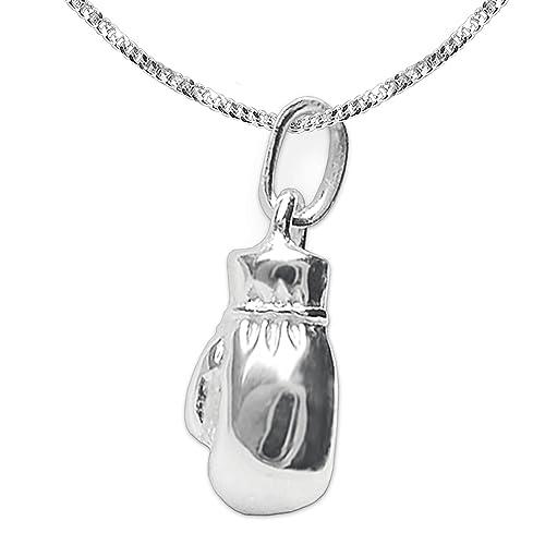 eac229780dec Clever Juego de joyas plateado Pequeño colgante 3d de boxeo 12 mm y tanque  Cadena 42 cm plata de ley 925  Amazon.es  Joyería