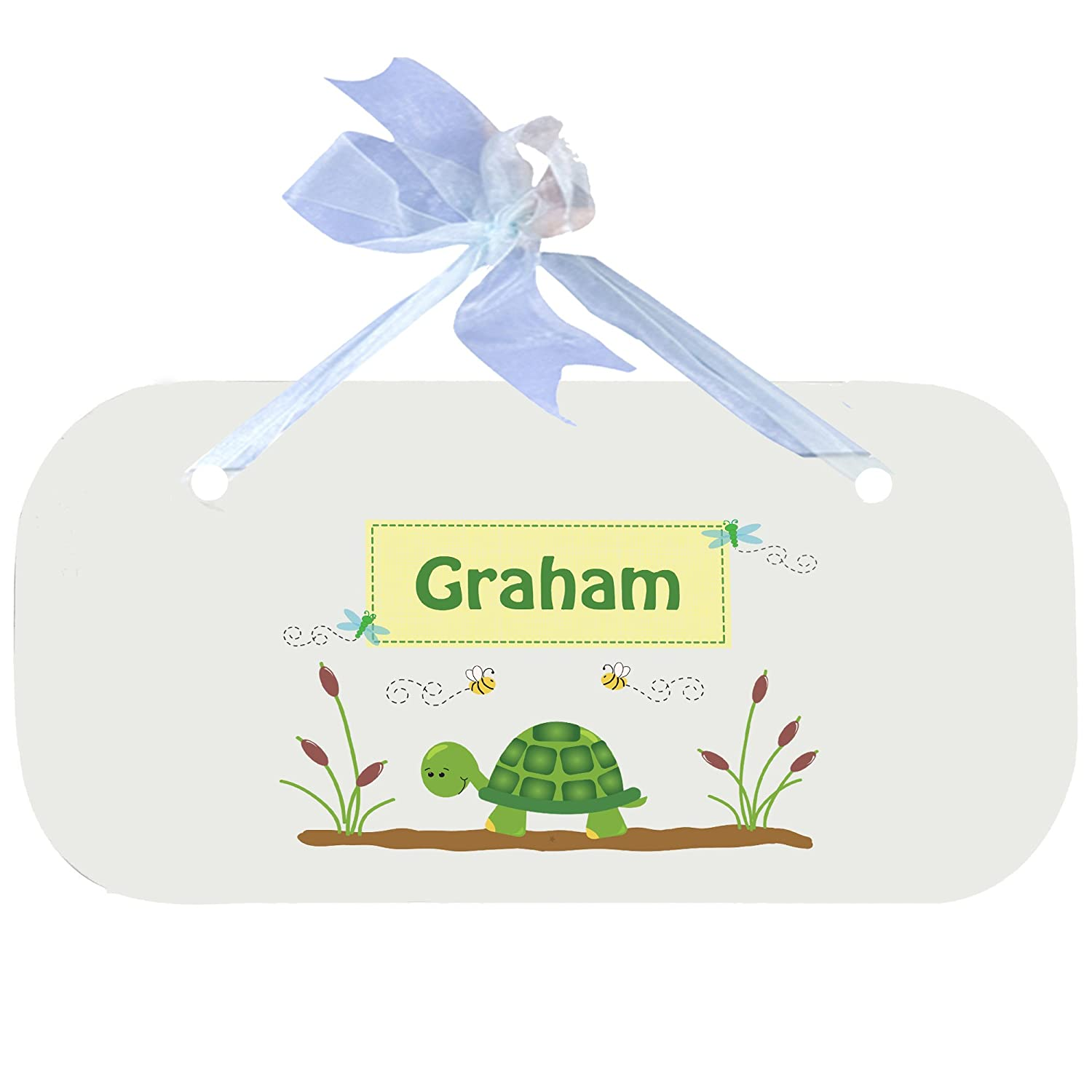 Personalized Turtle Nursery Door Hanger Plaque with blue ribbon MyBambino