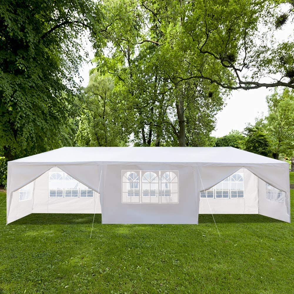 Zippem Outdoor Canopy Party Wedding Tent,Sunshade Shelter,Outdoor Gazebo Pavilion with Removable Sidewalls Upgraded Thicken Steel Tube 10 x 20 6 Removable Sidewalls White