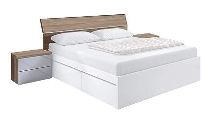 Habitdesign 016073W - Cabezal de cama de matrimonio y 2 mesitas con 2 cajones, color