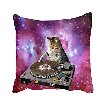 Galaxy Cat Wallpaper Throw Pillow Covers Decorative Square Cases Cotton