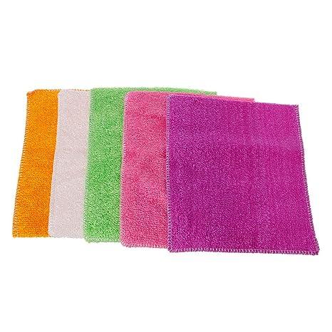Junlinto 5 Piezas de Fibra Súper Suave para Limpiar Toallas para Lavadora Toallas Paños de Limpieza