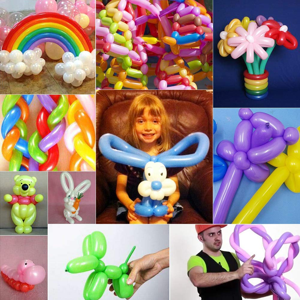 HAKACC Magic Balloons Kits,200 Pack 260Q Animal Balloons Assorted Color Thickening Latex Modeling Twisting Balloons for Animal Shape Weddings, Birthdays Clowns, Party Decorations