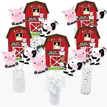 Juego de 15 palos de centro de mesa para fiesta de cumpleaños o baby shower de Barnyard con diseño de animales de granja: Amazon.es: Juguetes y juegos