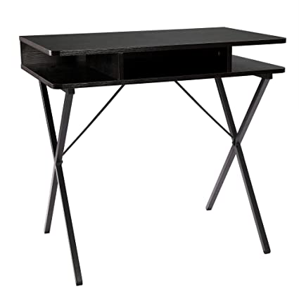 FIVEGIVEN Small Computer Desk Office Desk For Small Spaces Modern Black  Wood Study Desk With Storage