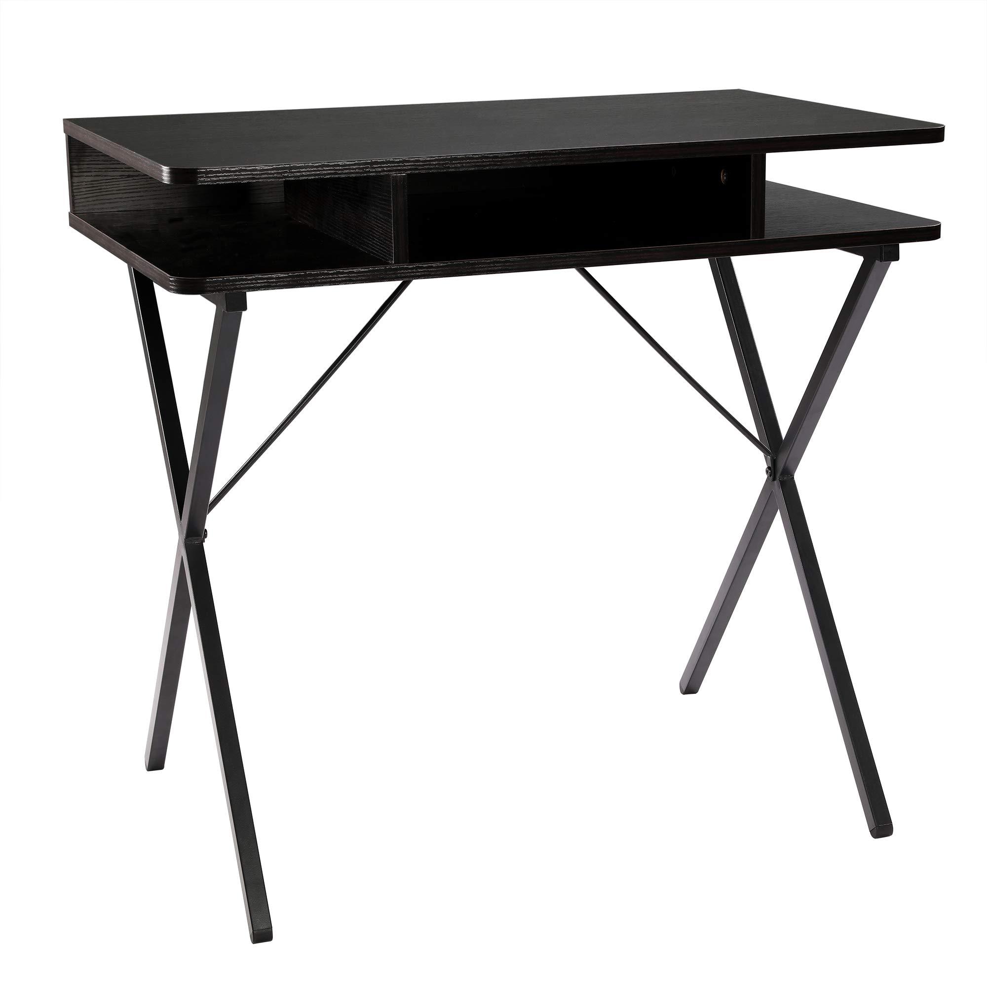 FIVEGIVEN Small Brownish Black Desk Modern Writing Computer Desk with Storage, 31.5 Inch