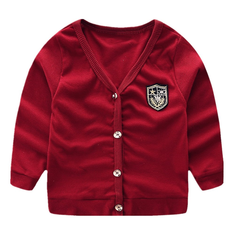 LittleSpring Little Boys V-Neck Cardigan Button Thin Red 5 SLS-S0107-Red-130
