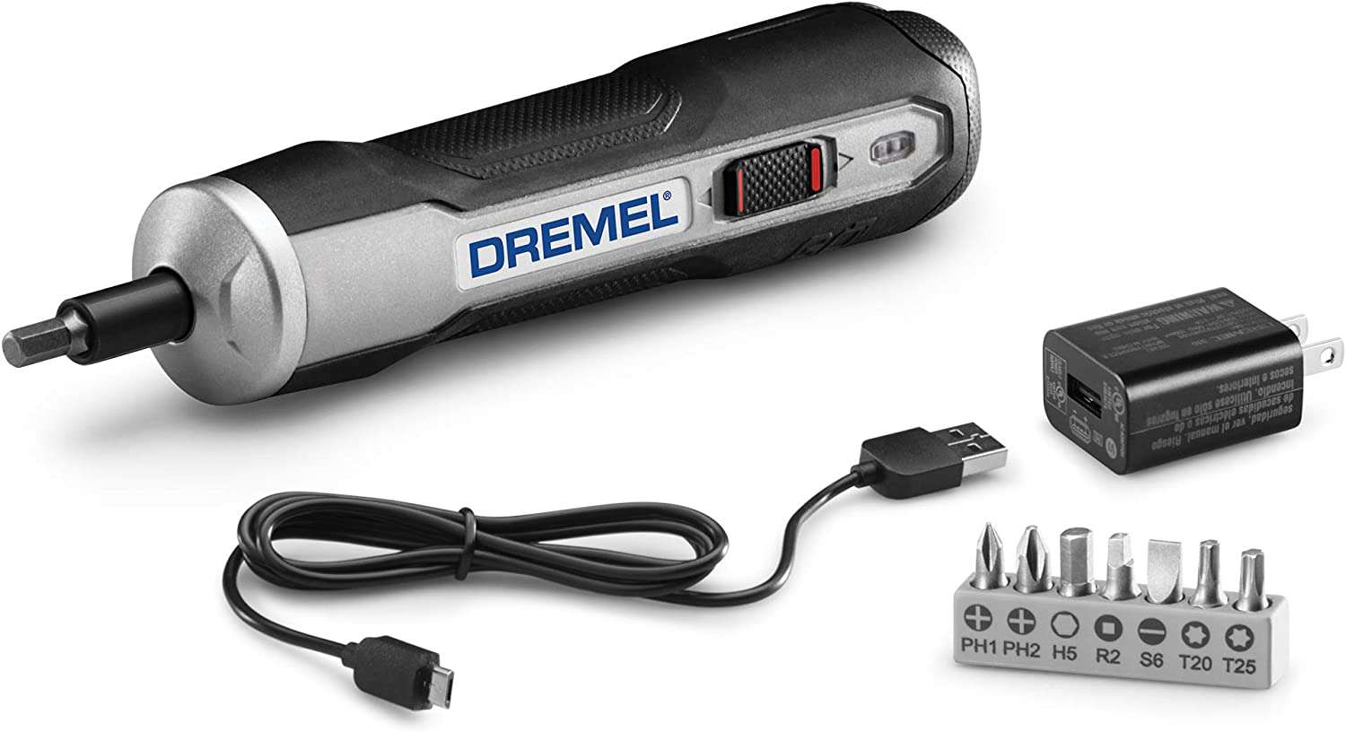 Dremel GO-01 Powered Cordless Electric Screwdriver Set-7 Bits with Phillips, Flat, Hex Head- Precise Screw Driver That Is Automatic, Small, Portable – Integrated Rechargeable Battery with USB