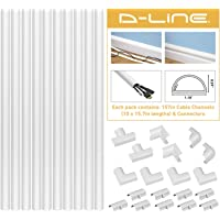 D-Line 157in Cord Cover Kit, Self-Adhesive Wire Hiders, Paintable Cable Raceway to Hide Wires on Wall, Electrical Cable…
