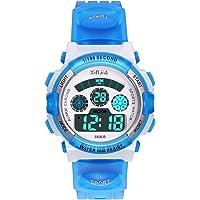 Reloj Digital para Niños,Niños Niñas 50M (5ATM) Impermeable 7 Colores LED Relojes Deportivos Multifuncionales para…