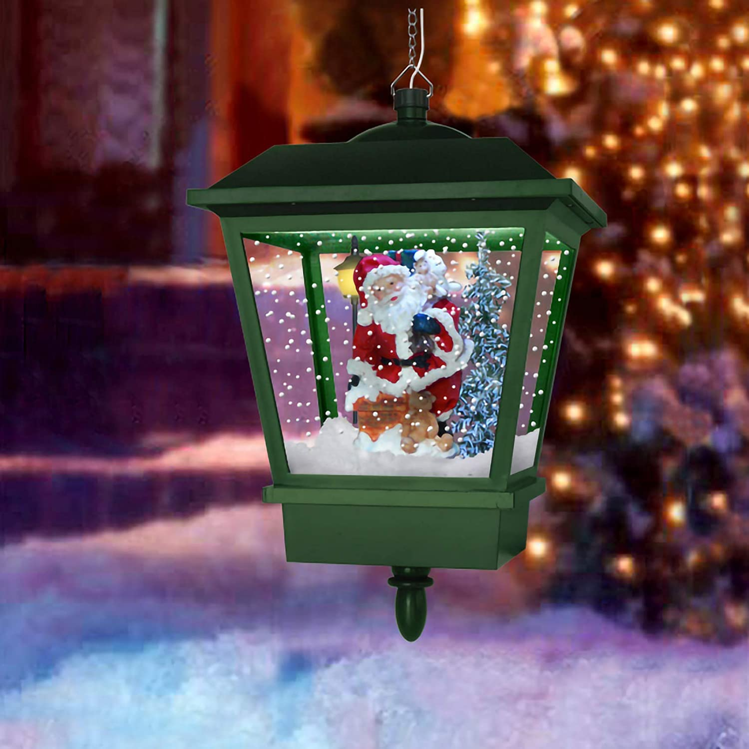 Fraser Hill Farm 23 Musical Tabletop Globe in Green Featuring Santa Scene and Snow Function Christmas Decoration