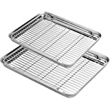 Baking Sheet with Rack Set, Yododo Stainless Steel Baking Pans Tray Cookie Sheet with Cooling Rack, Non Toxic & Healthy, Rust Free & Heavy Duty, Mirror Finish & Easy Clean, Dishwasher Safe - 4 Pieces
