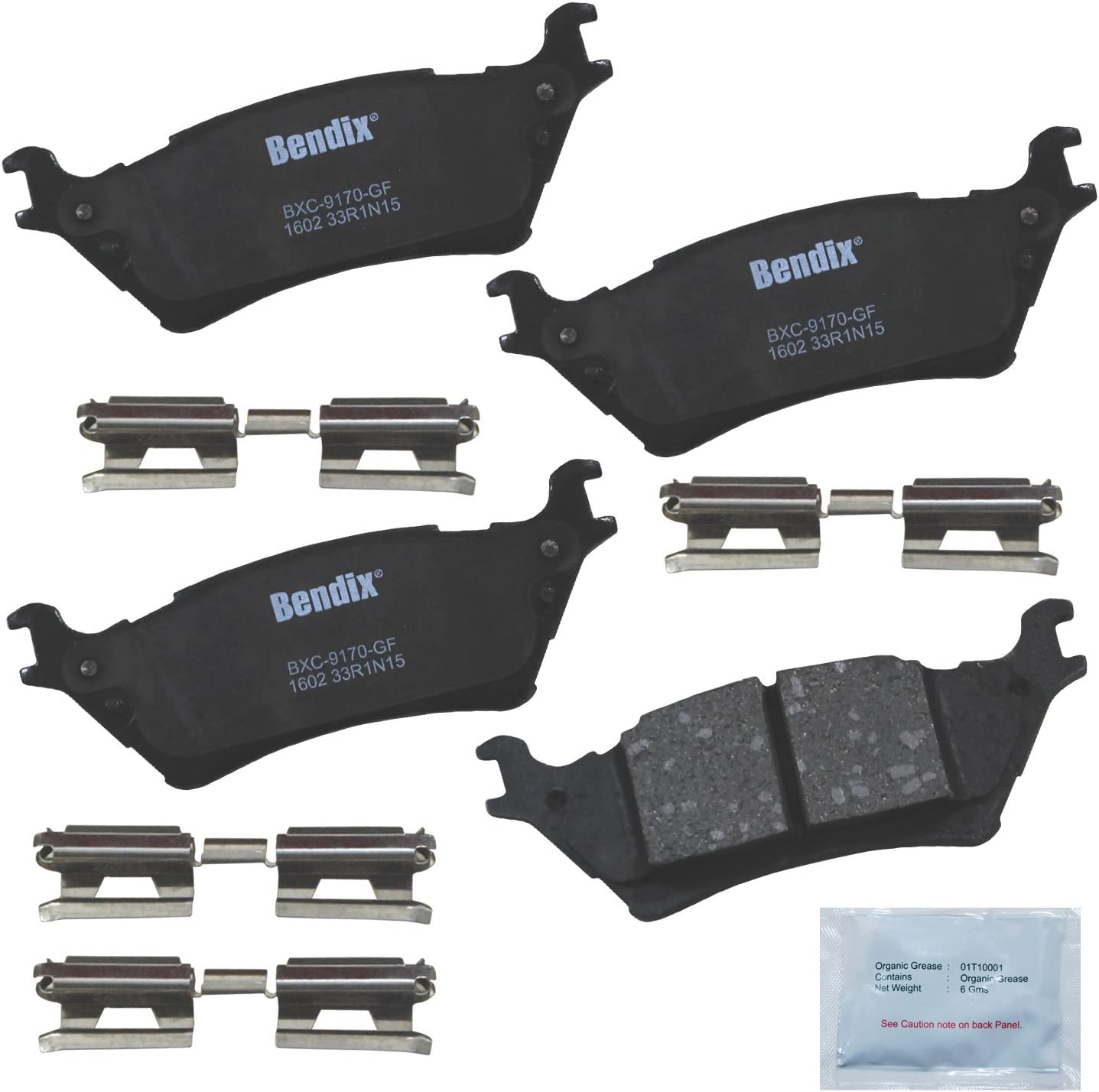 with Installation Hardware Rear Bendix Premium Copper Free CFC1602 Premium Copper Free Ceramic Brake Pad