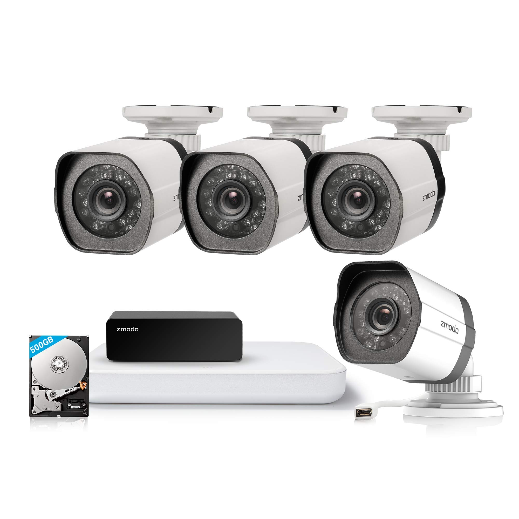 Zmodo 4CH 1080P HDMI NVR w/500GB Hard Disk 4Pack 720P Security Camera System w/Repeater for Flexible Installation & Extension, Customizable Motion Detection by Zmodo