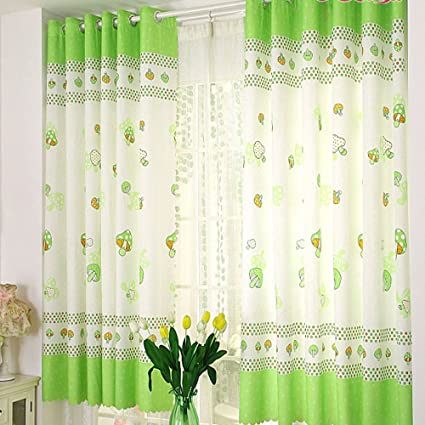 Bon Fabal Plant Tulle Window Screen Door Balcony Finished Product Cloth Window  Screens Curtain (Mushroom)