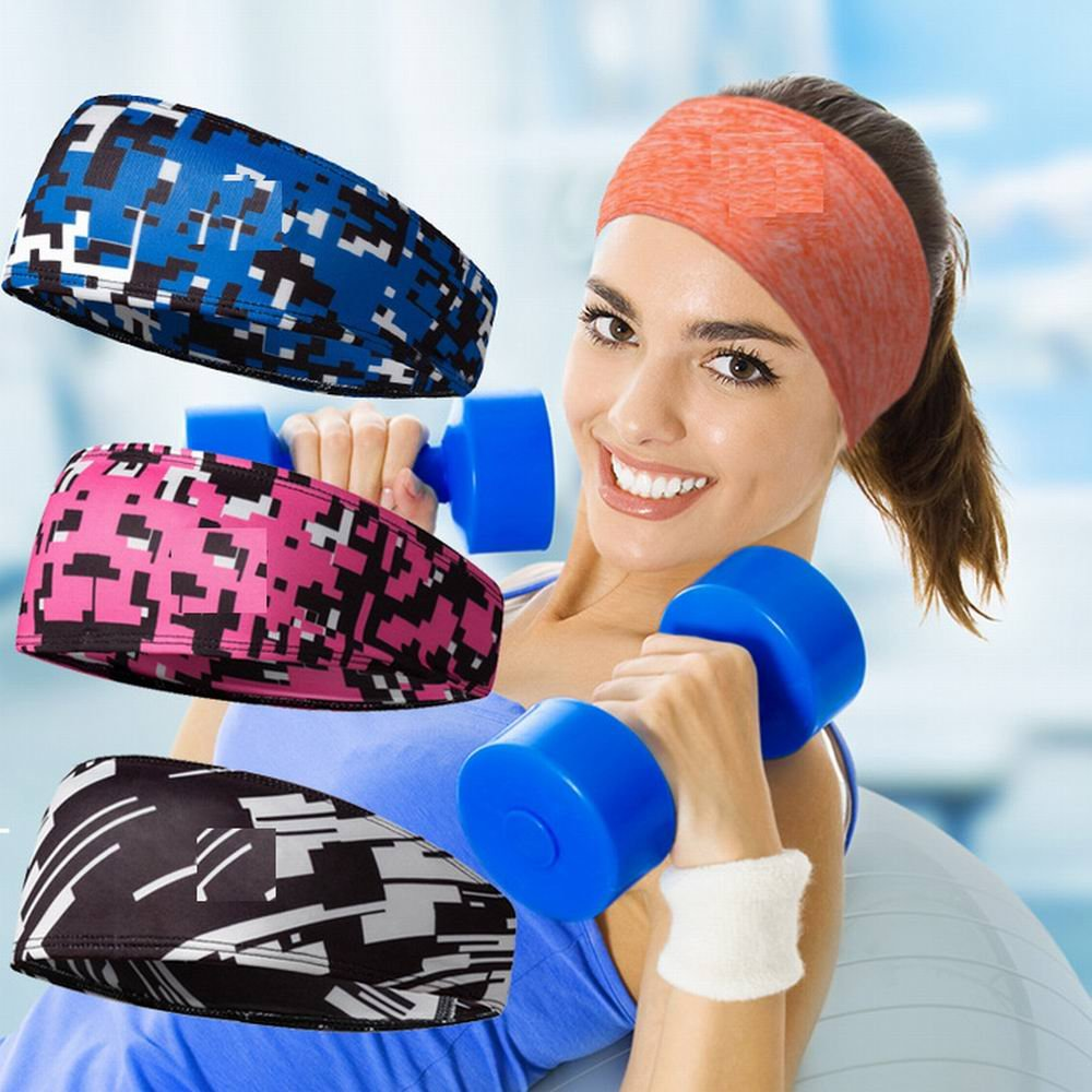 Women/'s Black Fitness Headband for Yoga Crossfit Running