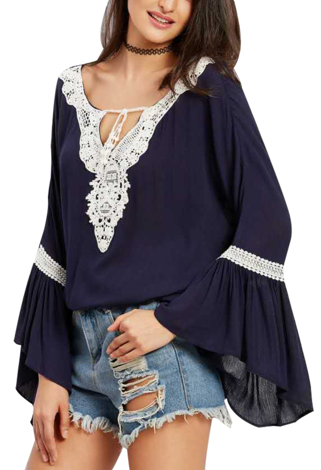 ANDYICEE Women's Flare Sleeve Flowy Shirts Lace Front Bandage Blouse and Tops XLarge