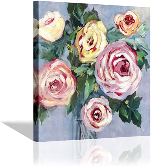 DARK VASE OF PINK /& YELLOW ROSES FLOWERS FLORAL PAINTING ART REAL CANVAS PRINT