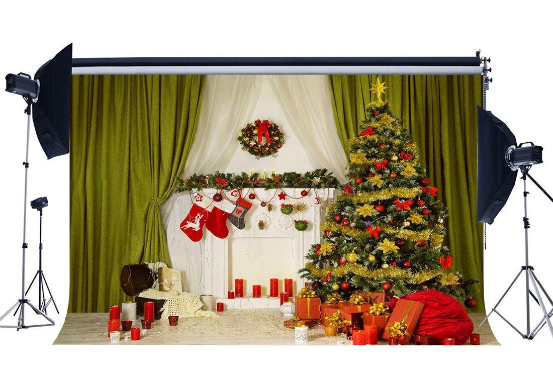 RBabyPhoto クリスマス暖炉バックドロップ 7X5フィート クリスマスデコレーション ツリーストッキング リースギフト レッドキャンドル カーテンインテリア 写真背景 Happy New Year 2019 フォトスタジオ小道具 ビニール CK302   B07JDQ9P5L