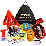 Sailnovo Auto Emergency Kit,Multifunctional Roadside Assistance Car Breakdown Kit with Jumper Cables,Tow Rope,Triangle,Flashlight,Tire Pressure Gauges,Safety Hammer,etc (Black)