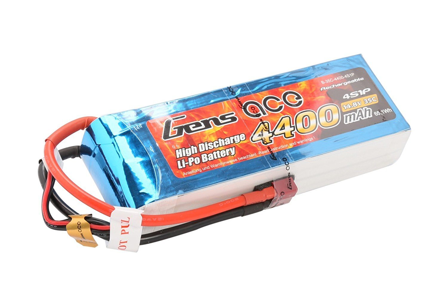 Gens ace 4400 mAh 14.8 V 35 °C Model 4S1P Lipo Battery Pack with Deans T Plug for RC Car Helicopter Plane Boat Truck FPV Helicopter Airplane Toys