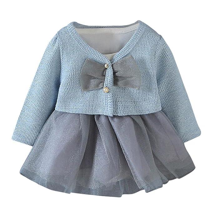 FeiXiang♈Bebé Niña Vestido de Manga Larga de Color Sólido Vestido de Princesa Vestido +