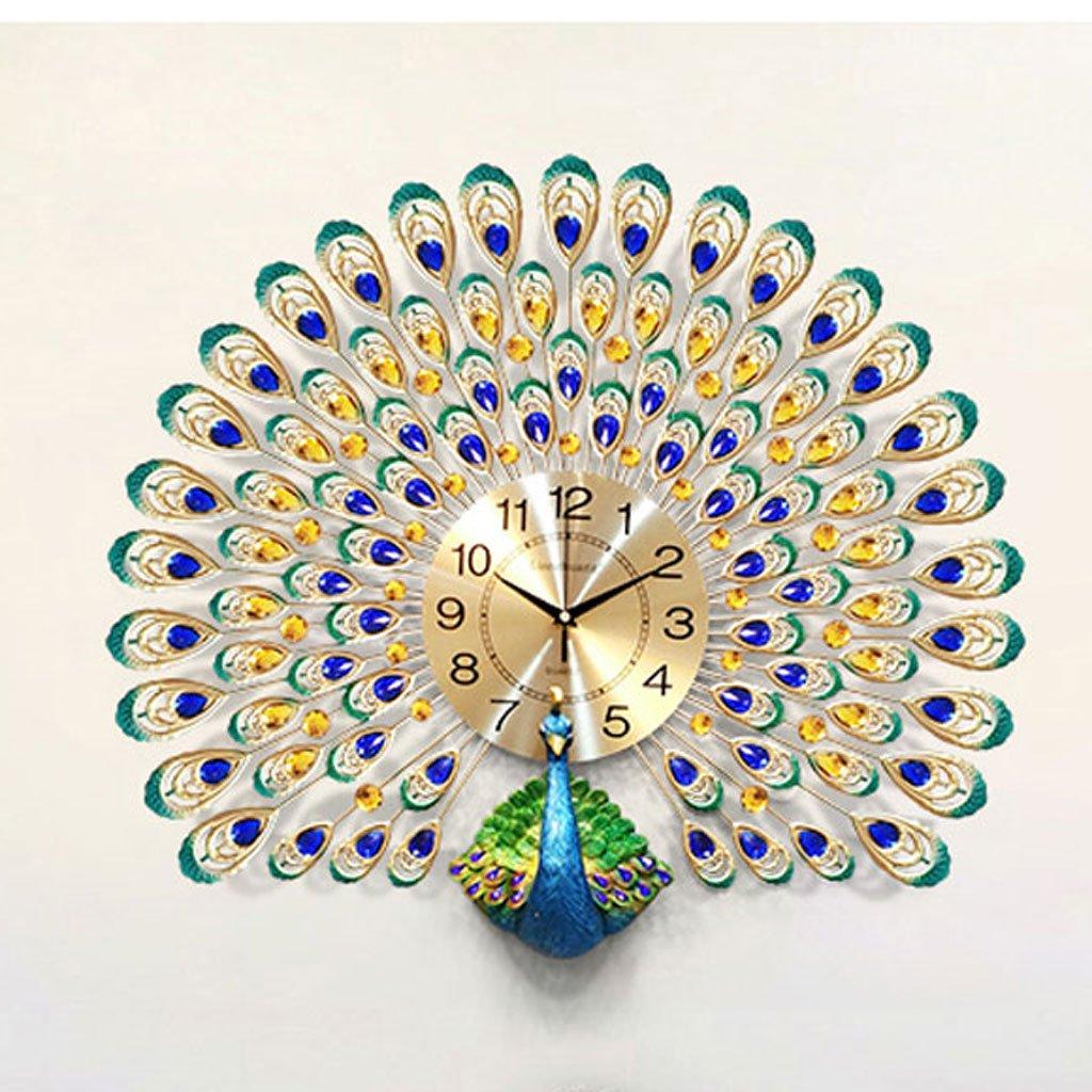 ウォールクロック ピーコックの壁時計リビングルームの寝室の研究ヨーロッパのクリエイティブ時計ホームサイレントクロック現代の装飾的な壁のチャート中国のスタイル (サイズ さいず : 大 だい) B07DVGY2DT大 だい