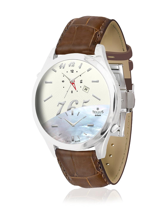 Tellus - Trium - Damen Armbanduhr - Weiß und Perlmutter Ziffernblatt - Armband Braun aus Alligator - - in Schweiz hergestellt -