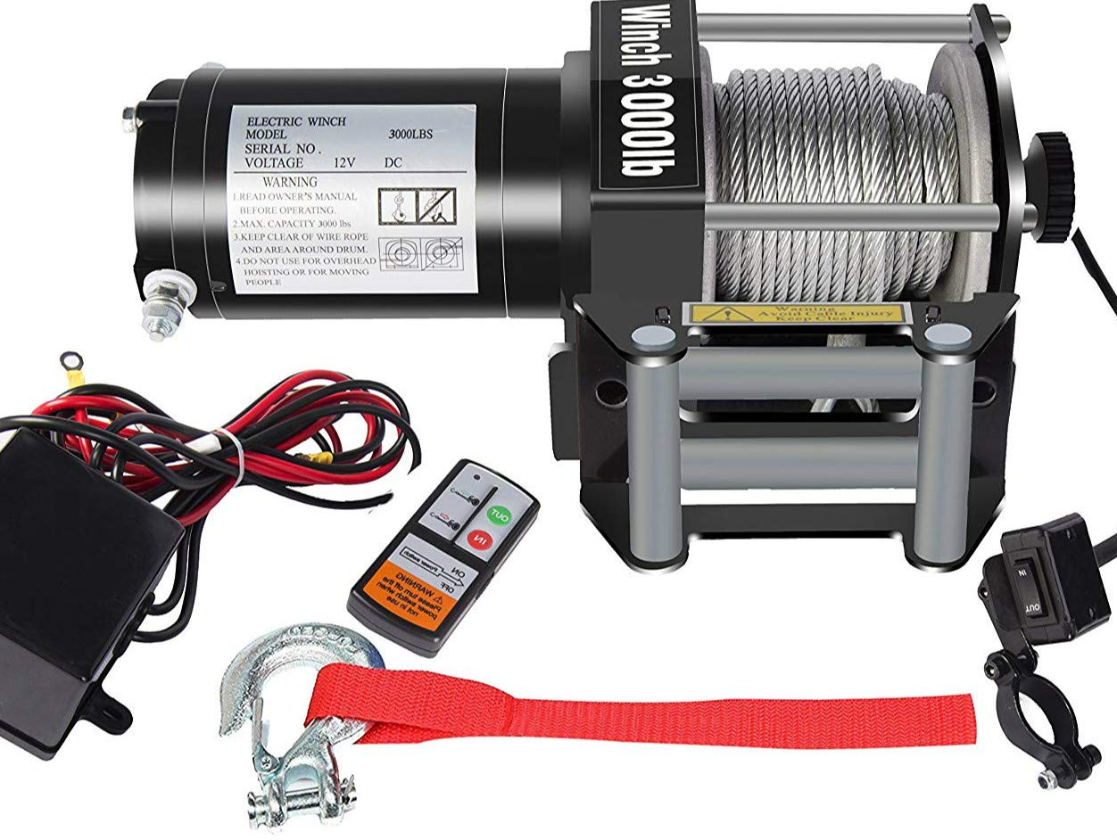 Amazon.com: DCFlat 12V 3000LBS Wire Rope Electric Winch for Towing ...