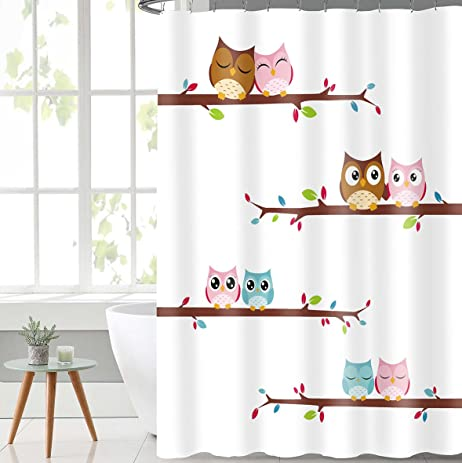 Lovely Owl Fabric Shower Curtain With Hooks Mildew Resistant Bath Curtain  Waterproof/Water Repellent