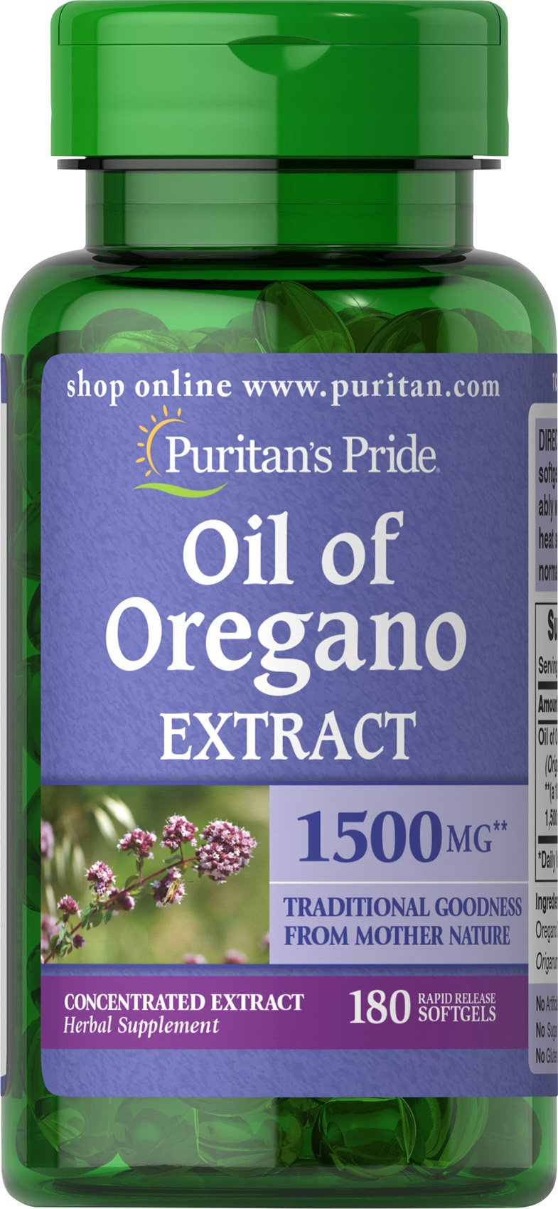 Puritan's Pride Oil of Oregano Extract 1500 mg-180 Softgels