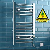 iBathUK 650 x 400 Thermostatic Electric Heated Towel Rail Bathroom Radiator - All Sizes